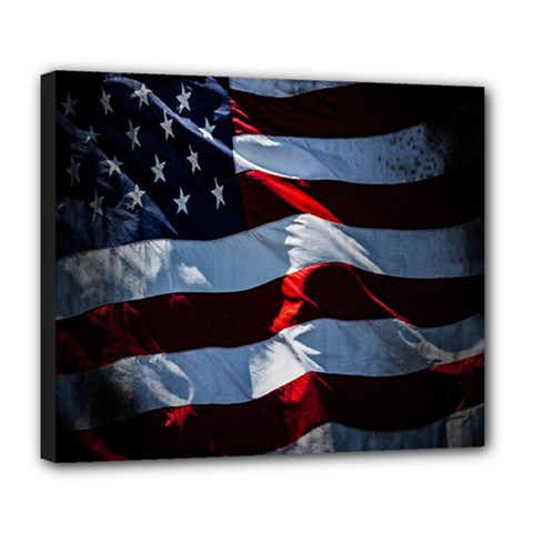 Grunge American Flag Background Deluxe Canvas 24  X 20