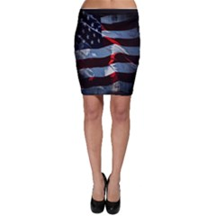 Grunge American Flag Background Bodycon Skirt