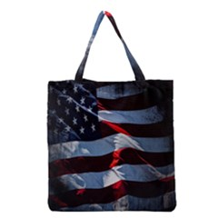 Grunge American Flag Background Grocery Tote Bag