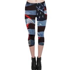 Grunge American Flag Background Capri Leggings