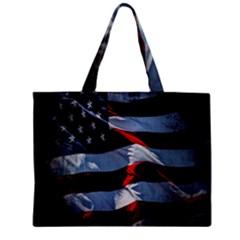 Grunge American Flag Background Zipper Mini Tote Bag