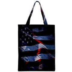 Grunge American Flag Background Zipper Classic Tote Bag