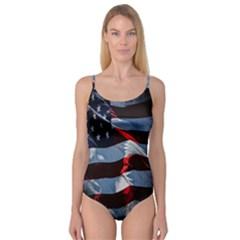 Grunge American Flag Background Camisole Leotard