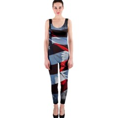 Grunge American Flag Background OnePiece Catsuit