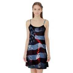Grunge American Flag Background Satin Night Slip
