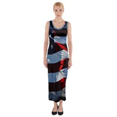 Grunge American Flag Background Fitted Maxi Dress