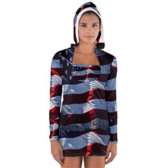 Grunge American Flag Background Women s Long Sleeve Hooded T Shirt