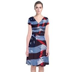 Grunge American Flag Background Short Sleeve Front Wrap Dress
