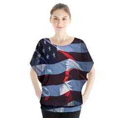 Grunge American Flag Background Blouse