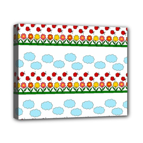 Ladybugs and flowers Canvas 10  x 8