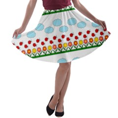 Ladybugs and flowers A-line Skater Skirt