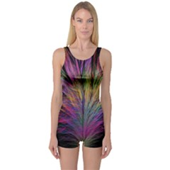 Fractal In Many Different Colours One Piece Boyleg Swimsuit