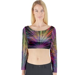 Fractal In Many Different Colours Long Sleeve Crop Top
