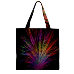 Fractal In Many Different Colours Zipper Grocery Tote Bag
