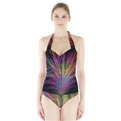 Fractal In Many Different Colours Halter Swimsuit