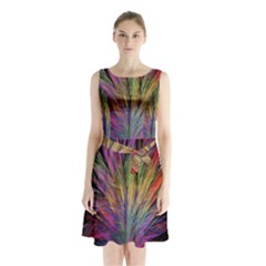 Fractal In Many Different Colours Sleeveless Chiffon Waist Tie Dress