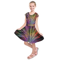 Fractal In Many Different Colours Kids  Short Sleeve Dress