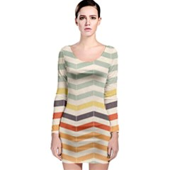 Abstract Vintage Lines Long Sleeve Bodycon Dress