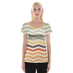 Abstract Vintage Lines Women s Cap Sleeve Top