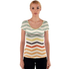 Abstract Vintage Lines Women s V-Neck Cap Sleeve Top