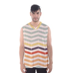 Abstract Vintage Lines Men s Basketball Tank Top