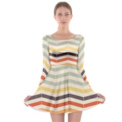 Abstract Vintage Lines Long Sleeve Skater Dress