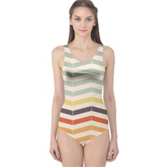 Abstract Vintage Lines One Piece Swimsuit