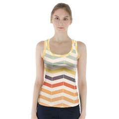 Abstract Vintage Lines Racer Back Sports Top