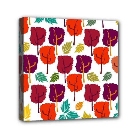 Colorful Trees Background Pattern Mini Canvas 6  X 6