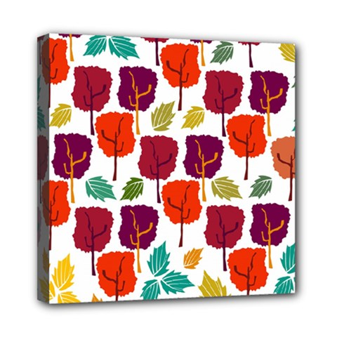 Colorful Trees Background Pattern Mini Canvas 8  X 8