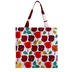 Colorful Trees Background Pattern Zipper Grocery Tote Bag