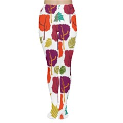 Colorful Trees Background Pattern Women s Tights