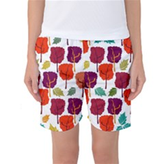Colorful Trees Background Pattern Women s Basketball Shorts