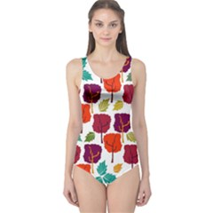 Colorful Trees Background Pattern One Piece Swimsuit