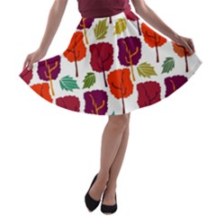 Colorful Trees Background Pattern A-line Skater Skirt