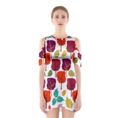 Colorful Trees Background Pattern Shoulder Cutout One Piece