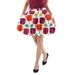 Colorful Trees Background Pattern A Line Pocket Skirt