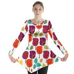 Colorful Trees Background Pattern Long Sleeve Tunic