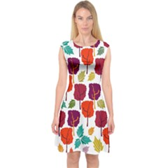 Colorful Trees Background Pattern Capsleeve Midi Dress