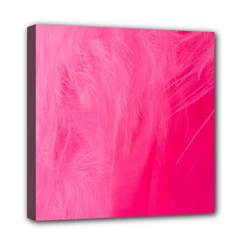 Very Pink Feather Mini Canvas 8  X 8