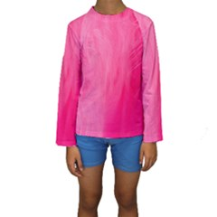 Very Pink Feather Kids  Long Sleeve Swimwear
