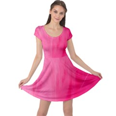 Very Pink Feather Cap Sleeve Dresses