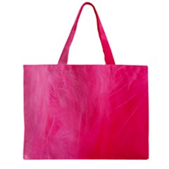 Very Pink Feather Zipper Mini Tote Bag