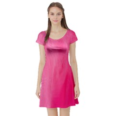 Very Pink Feather Short Sleeve Skater Dress
