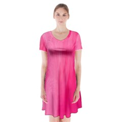 Very Pink Feather Short Sleeve V Neck Flare Dress