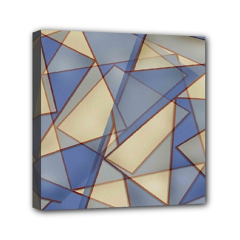 Blue And Tan Triangles Intertwine Together To Create An Abstract Background Mini Canvas 6  X 6