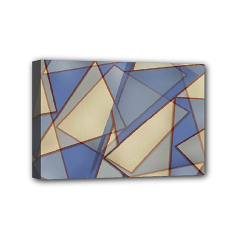 Blue And Tan Triangles Intertwine Together To Create An Abstract Background Mini Canvas 6  X 4