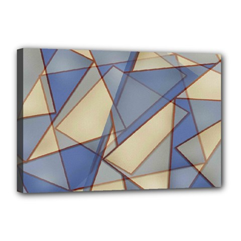 Blue And Tan Triangles Intertwine Together To Create An Abstract Background Canvas 18  X 12