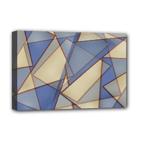 Blue And Tan Triangles Intertwine Together To Create An Abstract Background Deluxe Canvas 18  x 12