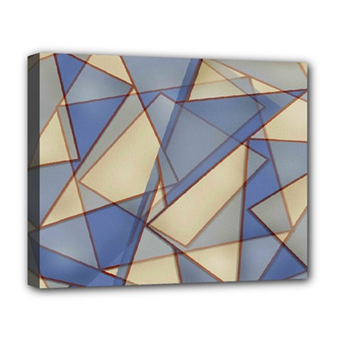 Blue And Tan Triangles Intertwine Together To Create An Abstract Background Deluxe Canvas 20  x 16